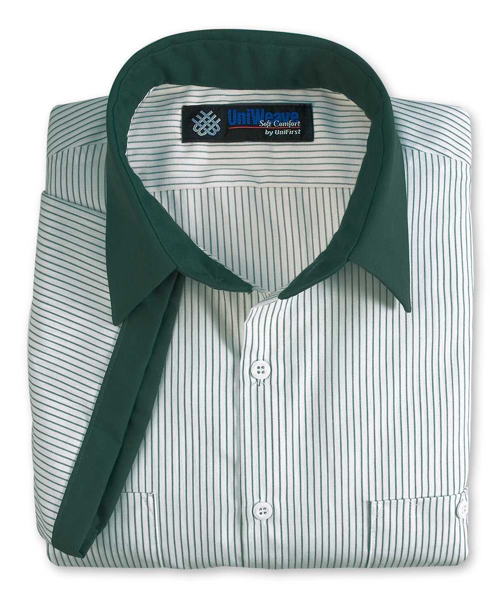 White/Spruce Green UniWeave® Contrast Collar Uniform Shirts Shown in UniFirst Uniform Rental Service Catalog