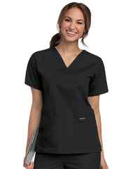 Landau V-Neck Women's Scrub Tops (Black) as shown in the UniFirst Uniform Rental Catalog