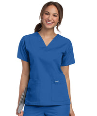 Landau V-Neck Women's Scrub Tops (Royal Blue) as shown in the UniFirst Uniform Rental Catalog