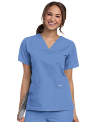 Landau V-Neck Women's Scrub Tops (Ciel Blue) as shown in the UniFirst Uniform Rental Catalog