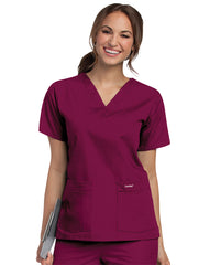 Landau V-Neck Women's Scrub Tops (Wine) as shown in the UniFirst Uniform Rental Catalog