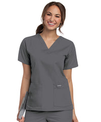Landau V-Neck Women's Scrub Tops (Steel Grey) as shown in the UniFirst Uniform Rental Catalog