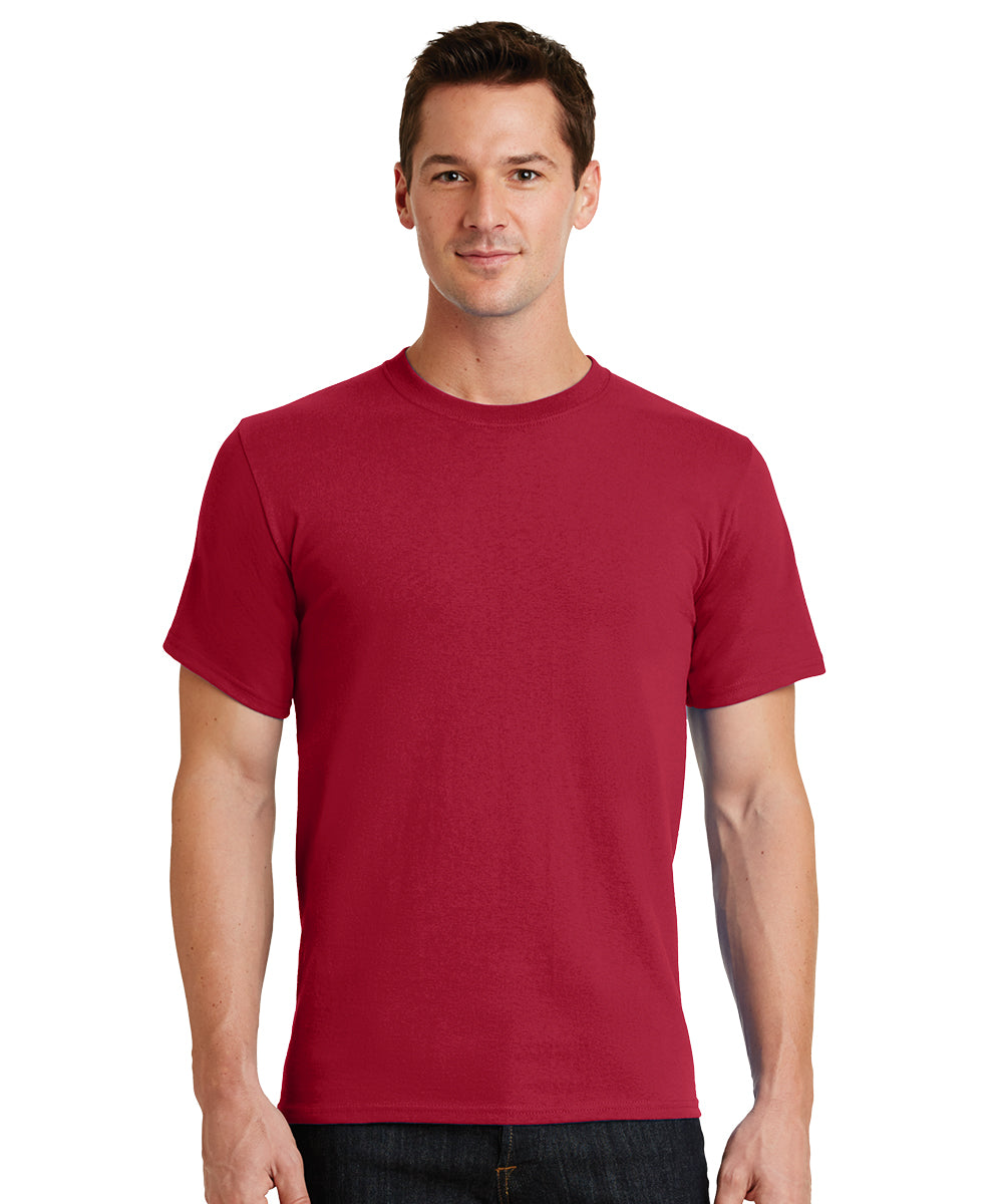 Short Sleeve 100% Cotton Classic Men's T-Shirts (Red) as shown in the UniFirst Uniform Rental Catalog.