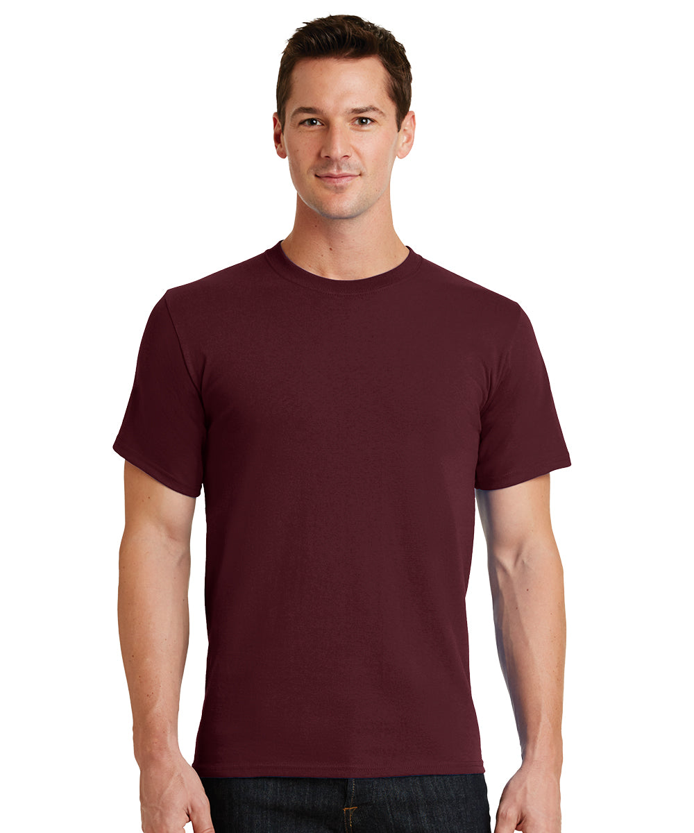 Short Sleeve 100% Cotton Classic Men's T-Shirts (Maroon) as shown in the UniFirst Uniform Rental Catalog.