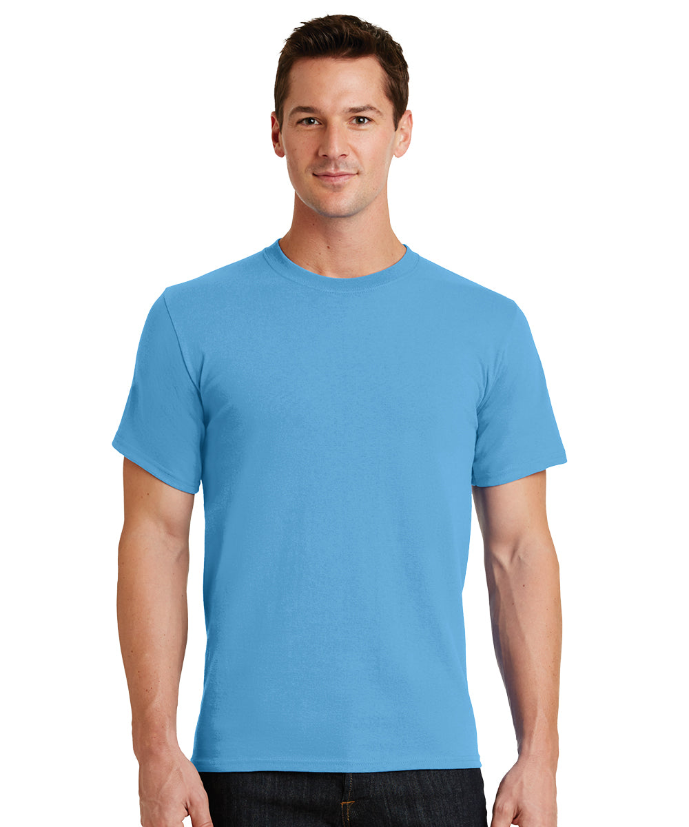 Short Sleeve 100% Cotton Classic Men's T-Shirts (Marine Blue) as shown in the UniFirst Uniform Rental Catalog.