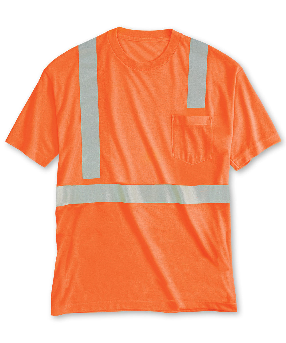 Orange ANSI Class 2 High Visibility Pocket T-Shirts Shown in UniFirst Uniform Rental Service Catalog