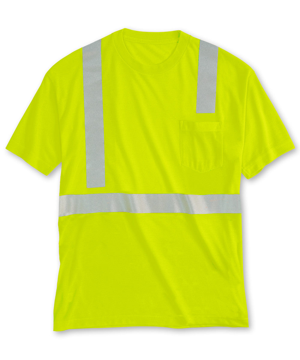 Heather Grey ANSI Class 2 High Visibility Pocket T-Shirts Shown in UniFirst Uniform Rental Service Catalog