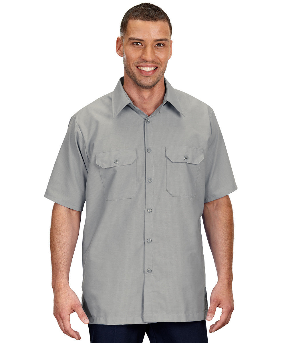 Grey Solid Ripstop Shirt Shown in UniFirst Uniform Rental Service Catalog