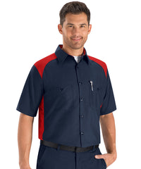 Automotive shirts in short sleeve navy and red as shown in the UniFirst Uniform Rental Catalaog
