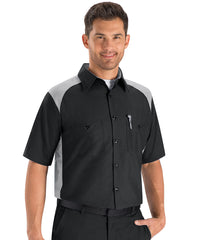 Automotive shirts in short sleeve black and greay as shown in the UniFirst Uniform Rental