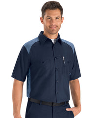 Automotive shirts in short sleeve navy and light blue as shown in the UniFirst Uniform Rental
