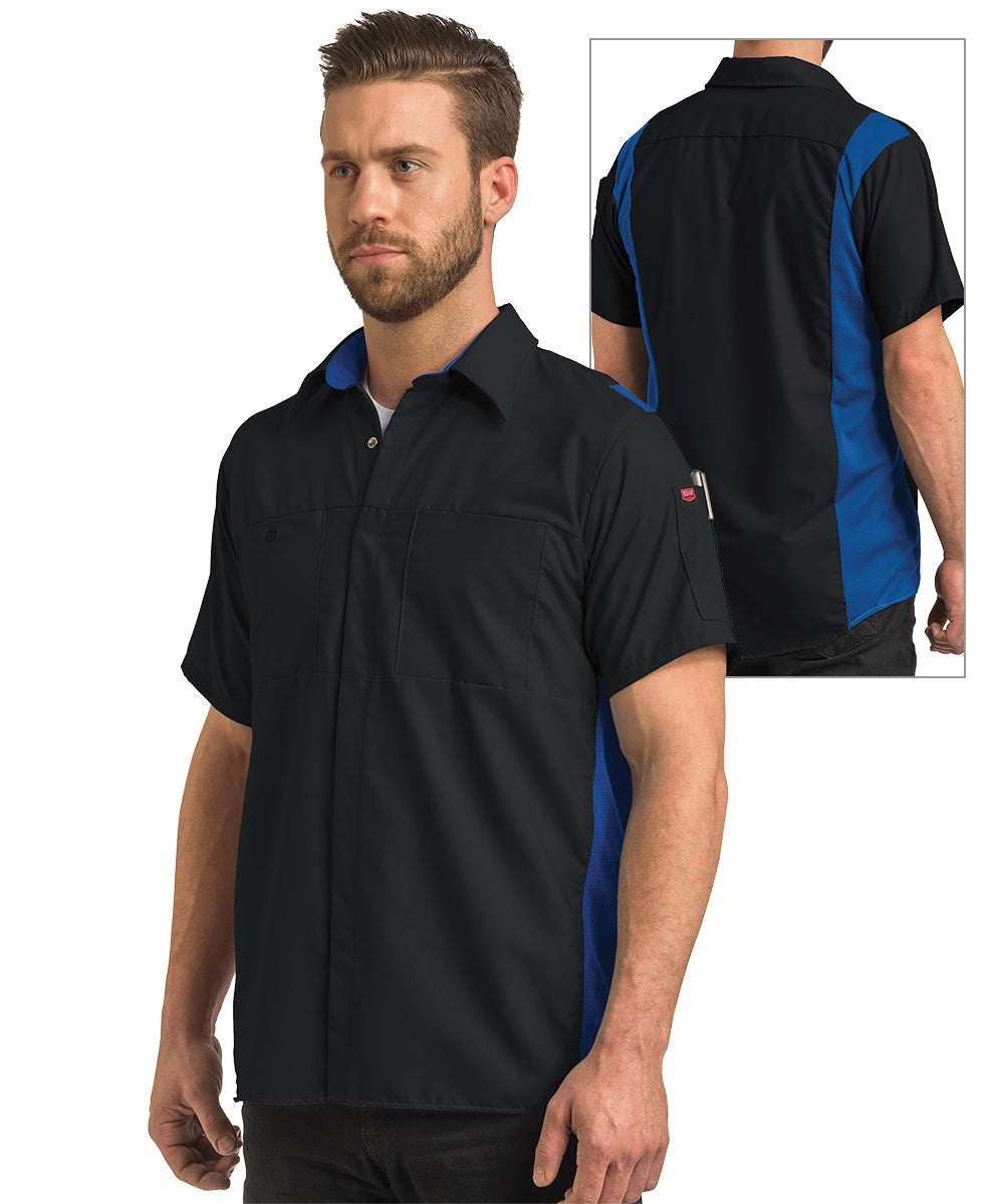 Men's OilBlok Short Sleeve Performance Shop Shirt in Black/Royal as shown in the UniFirst UniForm Rental Catalog