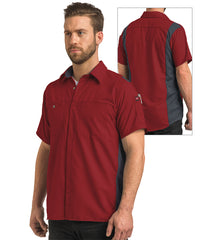 Men's OilBlok Short Sleeve Performance Shirt in Red/Charcoal as shown in the UniFirst UniForm Rental Catalog