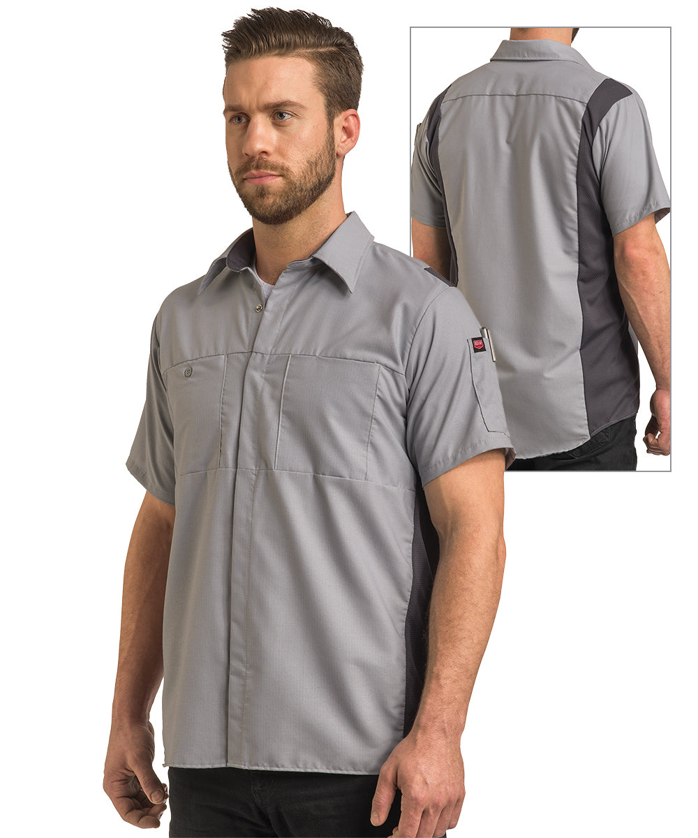Men's OilBlok Short Sleeve Performance Shirt in Lt. Grey/Dk. Grey as shown in the UniFirst UniForm Rental Catalog
