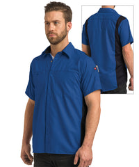 Men's OilBlok Short Sleeve Performance Shirt in Royal/Black as shown in the UniFirst UniForm Rental Catalog