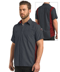 Men's OilBlok Short Sleeve Performance Shirt in Charcoal/Red as shown in the UniFirst UniForm Rental Catalog