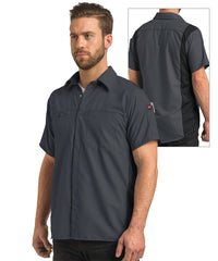 Men's OilBlok Short Sleeve Performance Shirt in Charcoal/Black as shown in the UniFirst UniForm Rental Catalog