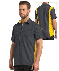 Men's OilBlok Short Sleeve Performance Shirt in Dk. Grey/Yellow as shown in the UniFirst UniForm Rental Catalog