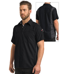 Men's OilBlok Short Sleeve Performance Shirt in Black/Charcoal as shown in the UniFirst UniForm Rental Catalog