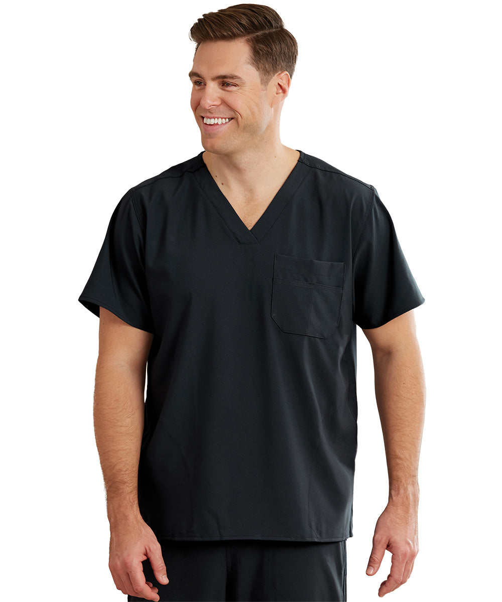 WonderWink INDY™ Unisex Scrub Tops (Black) as shown in the UniFirst Unifrm Rental Catalog.