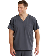 WonderWink INDY™ Unisex Scrub Tops (Pewter) as shown in the UniFirst Unifrm Rental Catalog.
