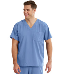 WonderWink INDY™ Unisex Scrub Tops (Ciel Blue) as shown in the UniFirst Unifrm Rental Catalog.