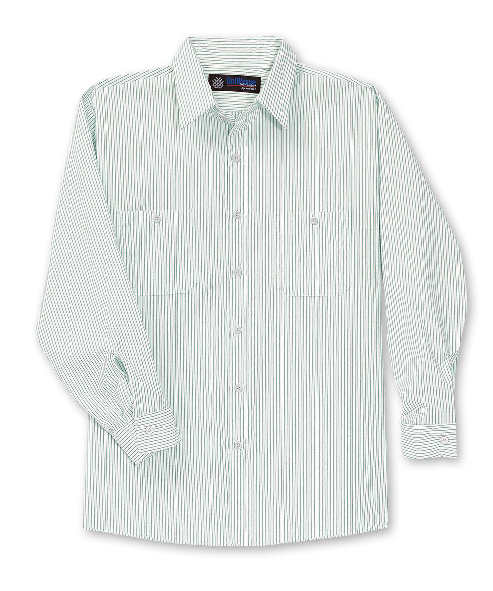 White/Spruce Green UniWeave® Thin Stripe Uniform Shirts Shown in UniFirst Uniform Rental Service Catalog