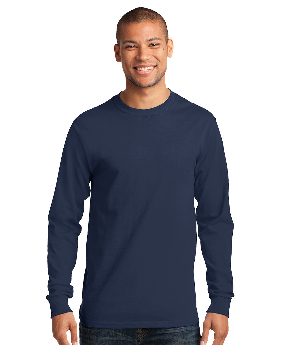 Men's Long Sleeve 100% Cotton Classic T-Shirts (Navy) as shown in the UniFirst Uniform Rental Catalog.