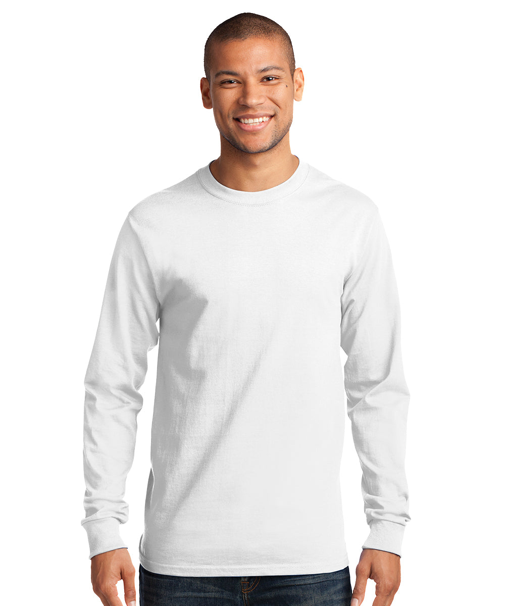Men's Long Sleeve 100% Cotton Classic T-Shirts (White) as shown in the UniFirst Uniform Rental Catalog.