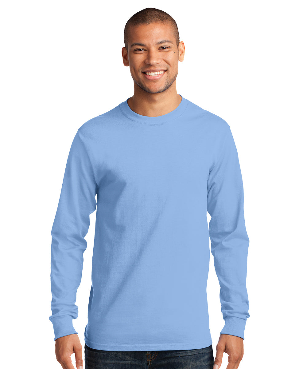Men's Long Sleeve 100% Cotton Classic T-Shirts (Light Blue) as shown in the UniFirst Uniform Rental Catalog.