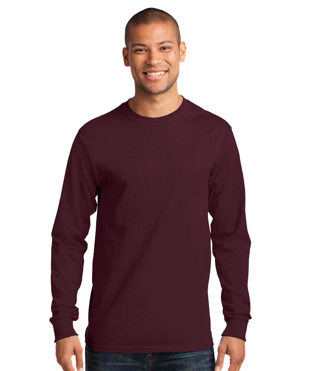 Men's Long Sleeve 100% Cotton Classic T-Shirts (Maroon) as shown in the UniFirst Uniform Rental Catalog.