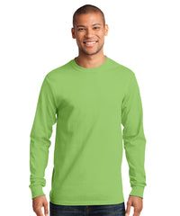 Men's Long Sleeve 100% Cotton Classic T-Shirts (Lime Green) as shown in the UniFirst Uniform Rental Catalog.