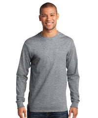 Men's Long Sleeve 100% Cotton Classic T-Shirts (Athletic Heather) as shown in the UniFirst Uniform Rental Catalog.