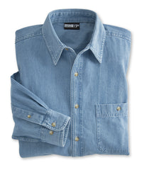 Light Blue UniFirst® Men's Open Collar Denim Shirts  Shown in UniFirst Uniform Rental Service Catalog