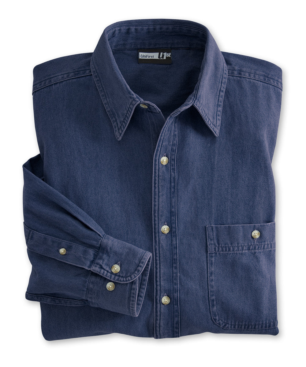 Dark Blue UniFirst® Men's Open Collar Denim Shirts  Shown in UniFirst Uniform Rental Service Catalog