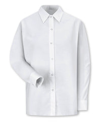 White UniFirst® Pocketless Women's Food Service Shirts Shown in UniFirst Uniform Rental Service Catalog