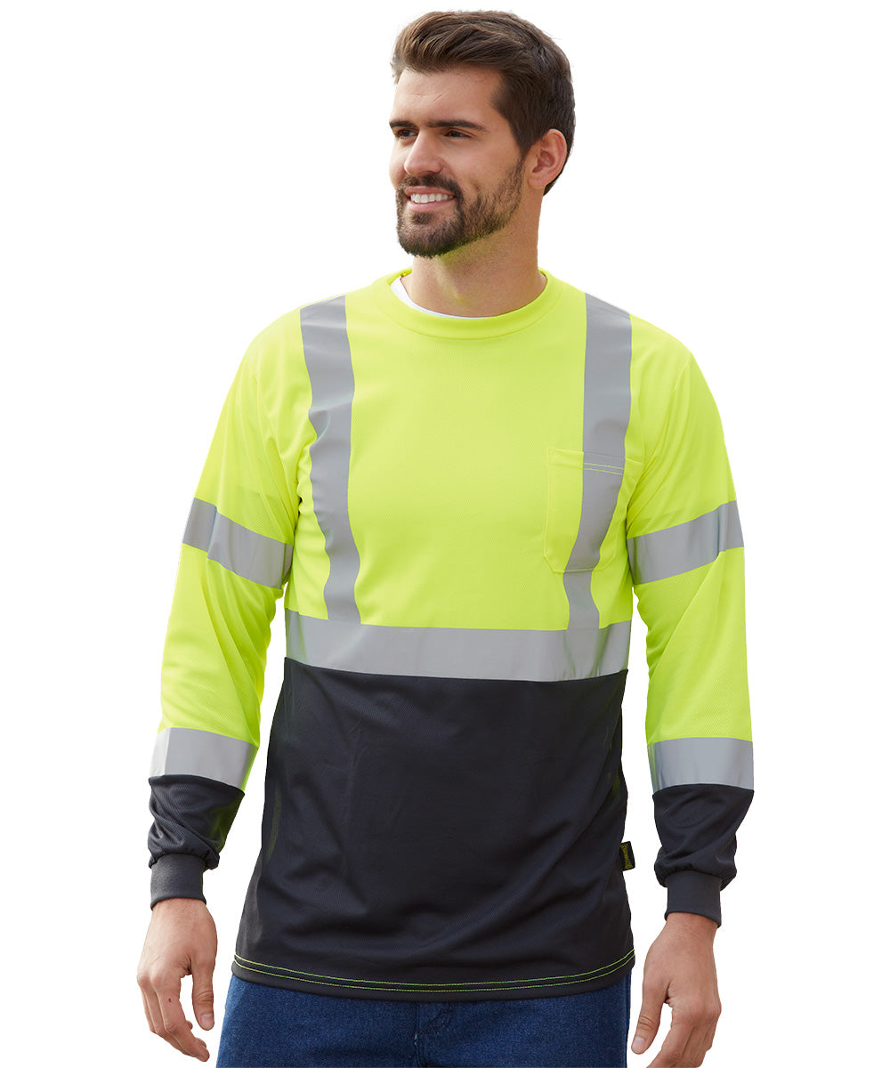 ANSI Class 3 High Visibility Black Bottom Shirts