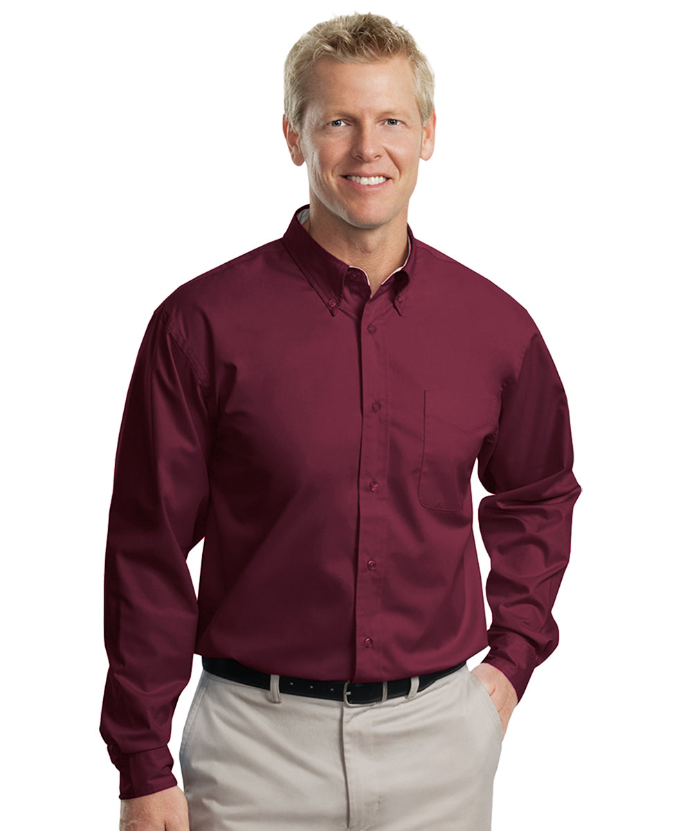 Men's long sleeve Easy Care Shirts (Burgundy) as shown in the UniFirst Uniform Rental Catalog