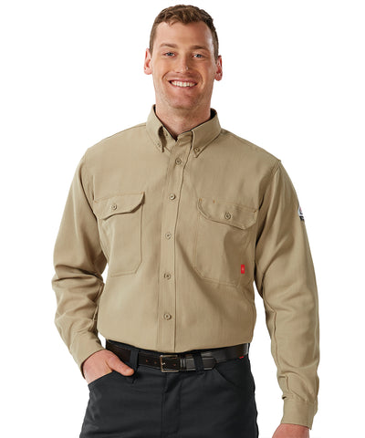 Bulwark® FR iQ Series® Lightweight Shirts (Khaki) as shown in the UniFirst Uniform Rental Catalog.