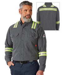 Bulwark® iQ Series® FR Shirts with Reflective Trim (US) in Dark Gray as shown in the UniFirst Uniform Rental Catalog
