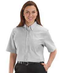 Women's Grey ParkStreet® Oxford Shirts Shown in UniFirst Uniform Rental Service Catalog