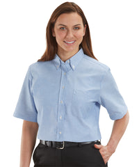 Women's Light Blue ParkStreet® Oxford Shirts Shown in UniFirst Uniform Rental Service Catalog
