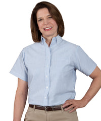 Blue/White Women's ParkStreet® Oxford Shirts Shown in UniFirst Uniform Rental Service Catalog