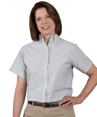 White/Grey Women's ParkStreet® Oxford Shirts Shown in UniFirst Uniform Rental Service Catalog