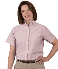 Burgundy/White Women's ParkStreet® Oxford Shirts Shown in UniFirst Uniform Rental Service Catalog