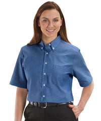 Women's French Blue ParkStreet® Oxford Shirts Shown in UniFirst Uniform Rental Service Catalog