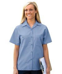Light Blue Women's Uniform Shirts Shown in UniFirst Uniform Rental Service Catalog