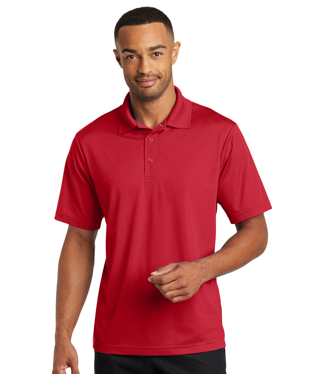 Red Micro Piqué Gripper Polo Shirts Shown in UniFirst Uniform Rental Service Catalog