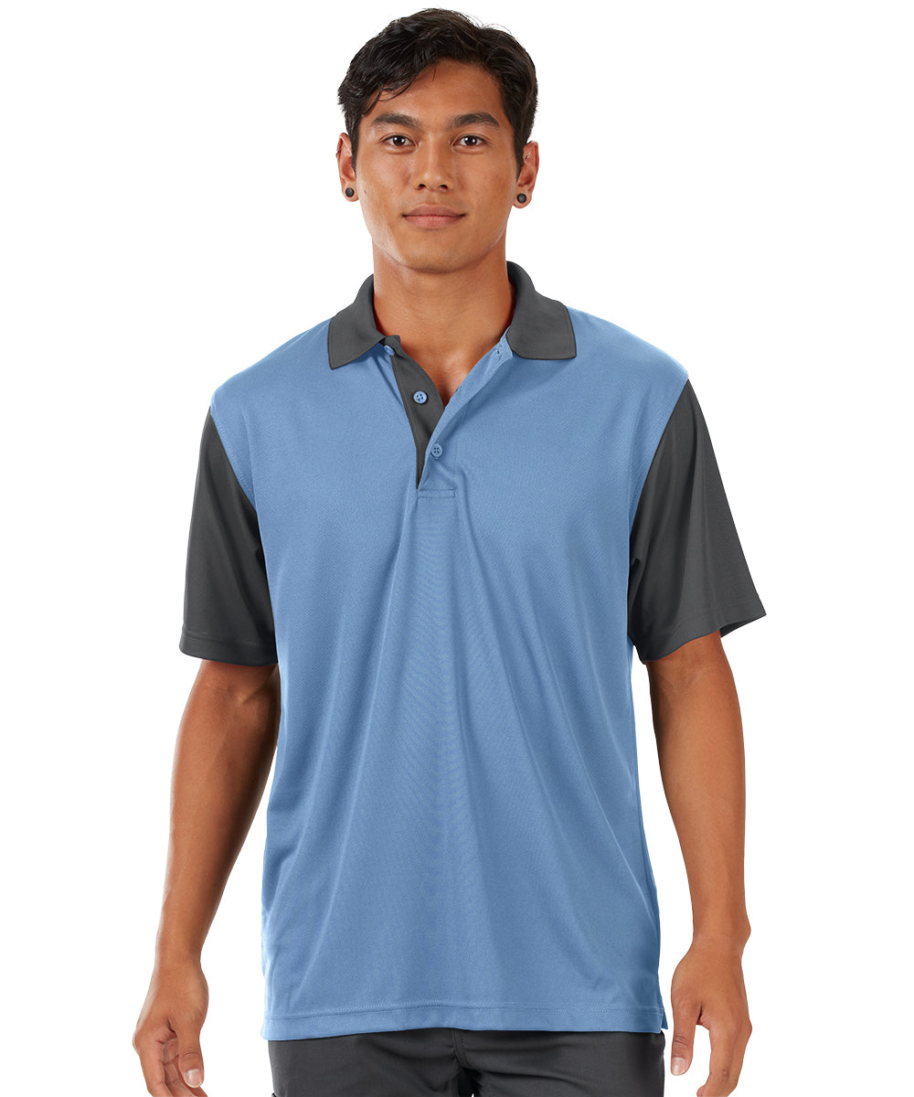Performance Knit® Color-Block Polo (Blue/Charcoal) as shown in the UniFirst Rental Catalog.