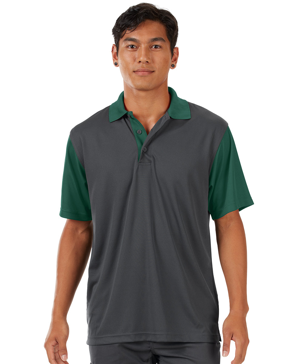 Performance Knit® Color-Block Polo (Charcoal/Dark Green) as shown in the UniFirst Rental Catalog.
